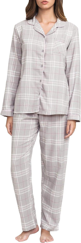Conjunto Pijama Largo Mujer 100% algodón Corte Masculino Tipo Camisa Ropa de Dormir Invierno Suave: Amazon.es: Ropa y accesorios