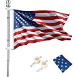 hogardeck 6 FT Flag Pole Kit with 3x5 ft US Flag, Tangle Free Spinning Weather Resistant Rustproof Stainless Steel Flagpole S