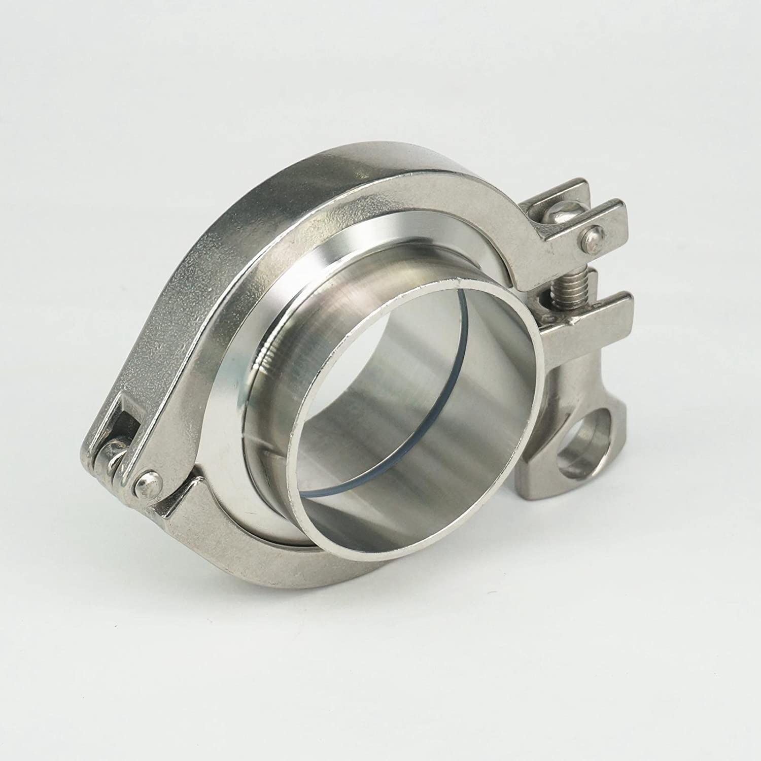 Xucus A Set 57mm O//D Sanitary Tri Clamp Weld Ferrule 2.5 Tri Clamp Silicon Gasket 304 Stainless Steel