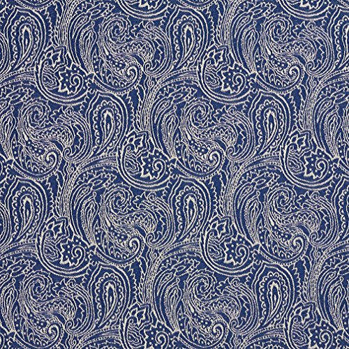 B627 Navy Blue Traditional Paisley Jacquard Woven Upholstery Fabric by The Yard ()