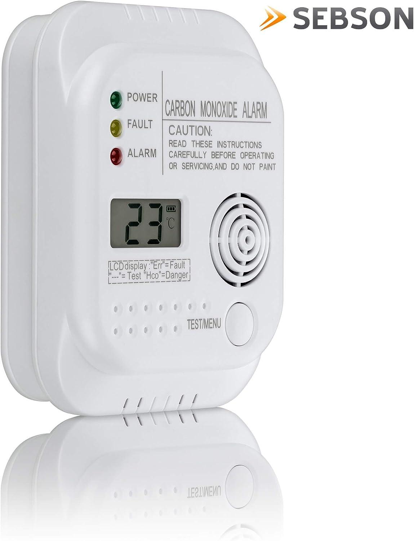 EN 50291 Zertifiziert batteriebetrieben Gasmelder mit Display und Temperaturanzeige SEBSON Kohlenmonoxid CO Melder