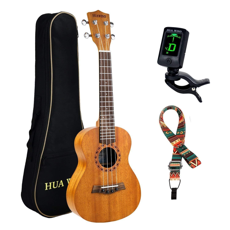 Concert Ukulele HUAWIND Mahogany 23 inch Professional Wooden Ukelele Instrument Kit w/Gig bag Digital Tuner Strap for Beginners