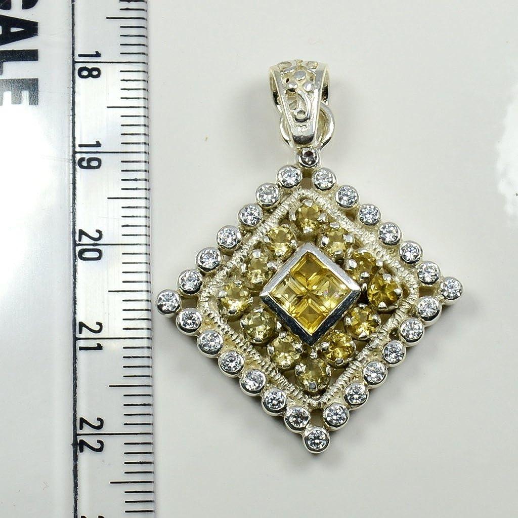 Gemsonclick Natural Citrine Pendant Round Shape 925 Sterlling Silver MSP-186