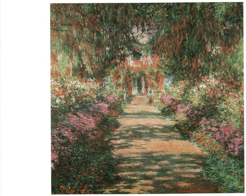 Claude Monet Garden Path at Giverny French Impressionist Art Art Laminated Dry Erase Sign Poster 12x18