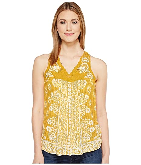 19254cb5351 Lucky Brand Women's Floral Lace Yoke Tank Top Golden Yellow Tank Top ...