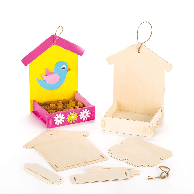 Baker Ross Kits de comederos de madera para pájaros que los niños pueden pintar, decorar y colgar (pack de 3) Beige (AF340)