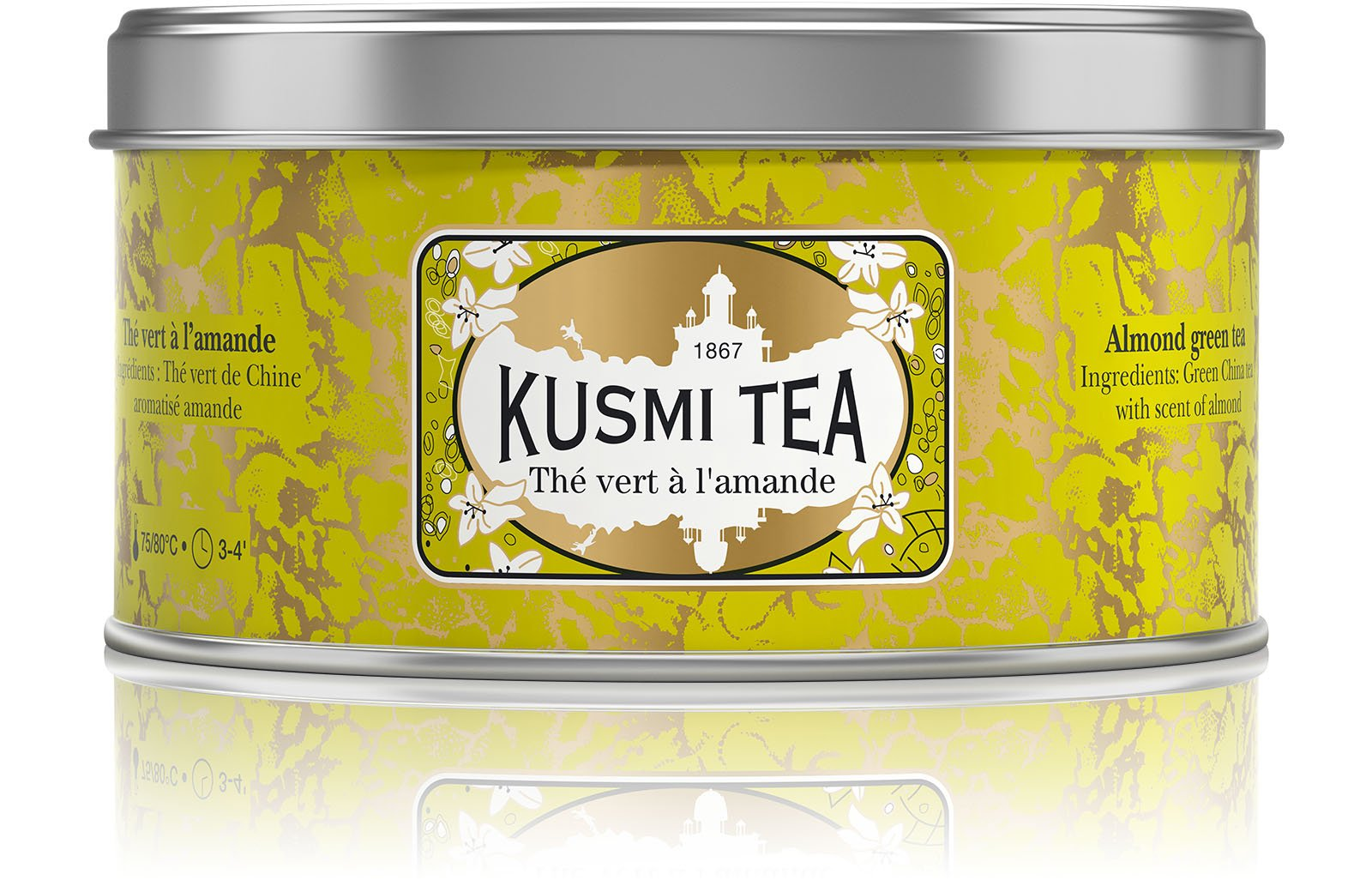 Kusmi Tea - Almond Green Tea - Smooth Chinese Green Tea with Scents of Almonds - 4.4oz of All Natural, Premium Loose Leaf Chinese Green Tea in Eco-Friendly Metal Tin (50 Servings)