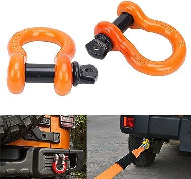2 pcs Naranja D-Ring lazo grilletes/Heavy Duty acero remolque ...