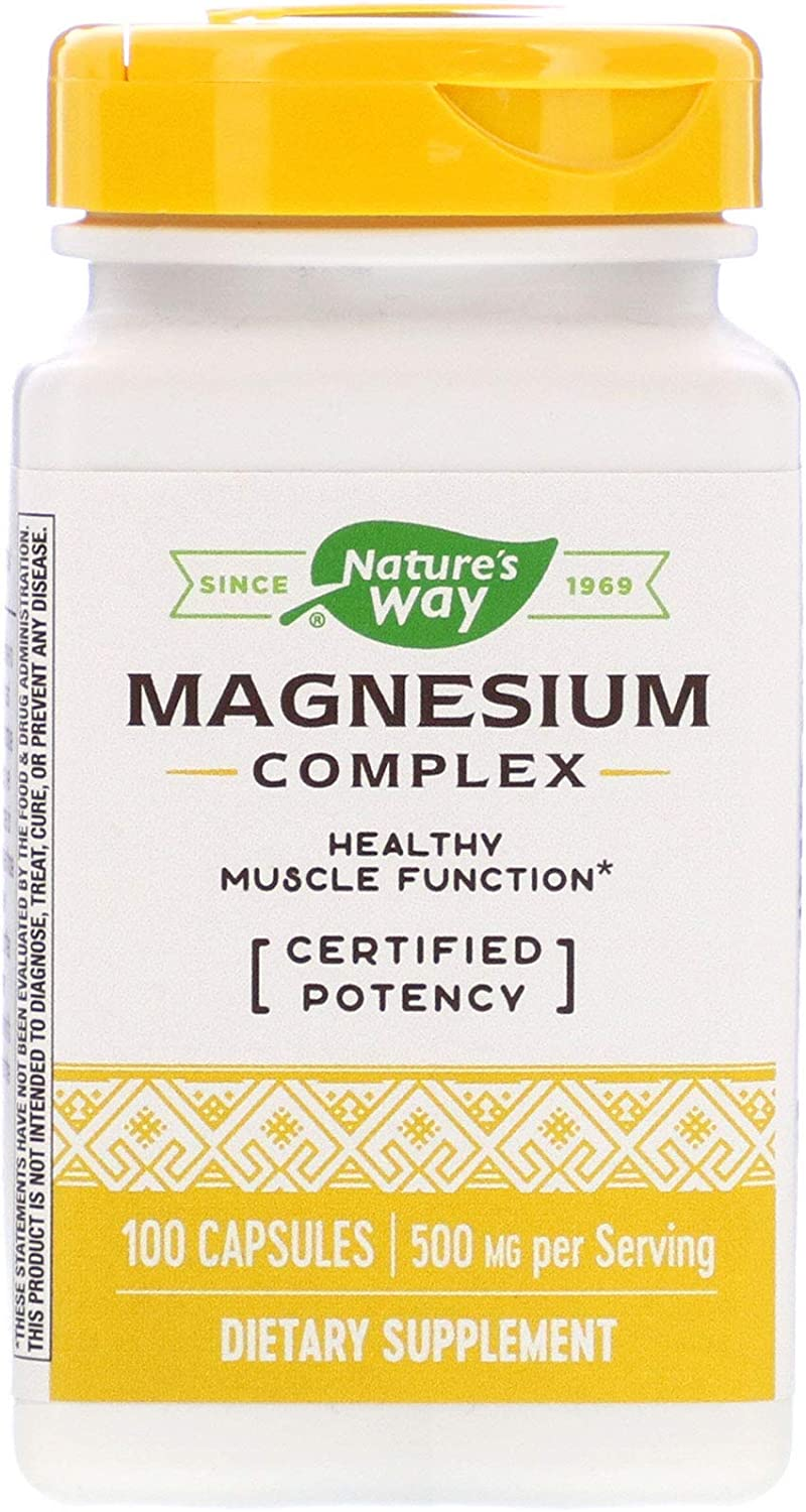 Nature's Way Magnesium Complex, 100 Capsules, Pack of 2: Health & Personal Care