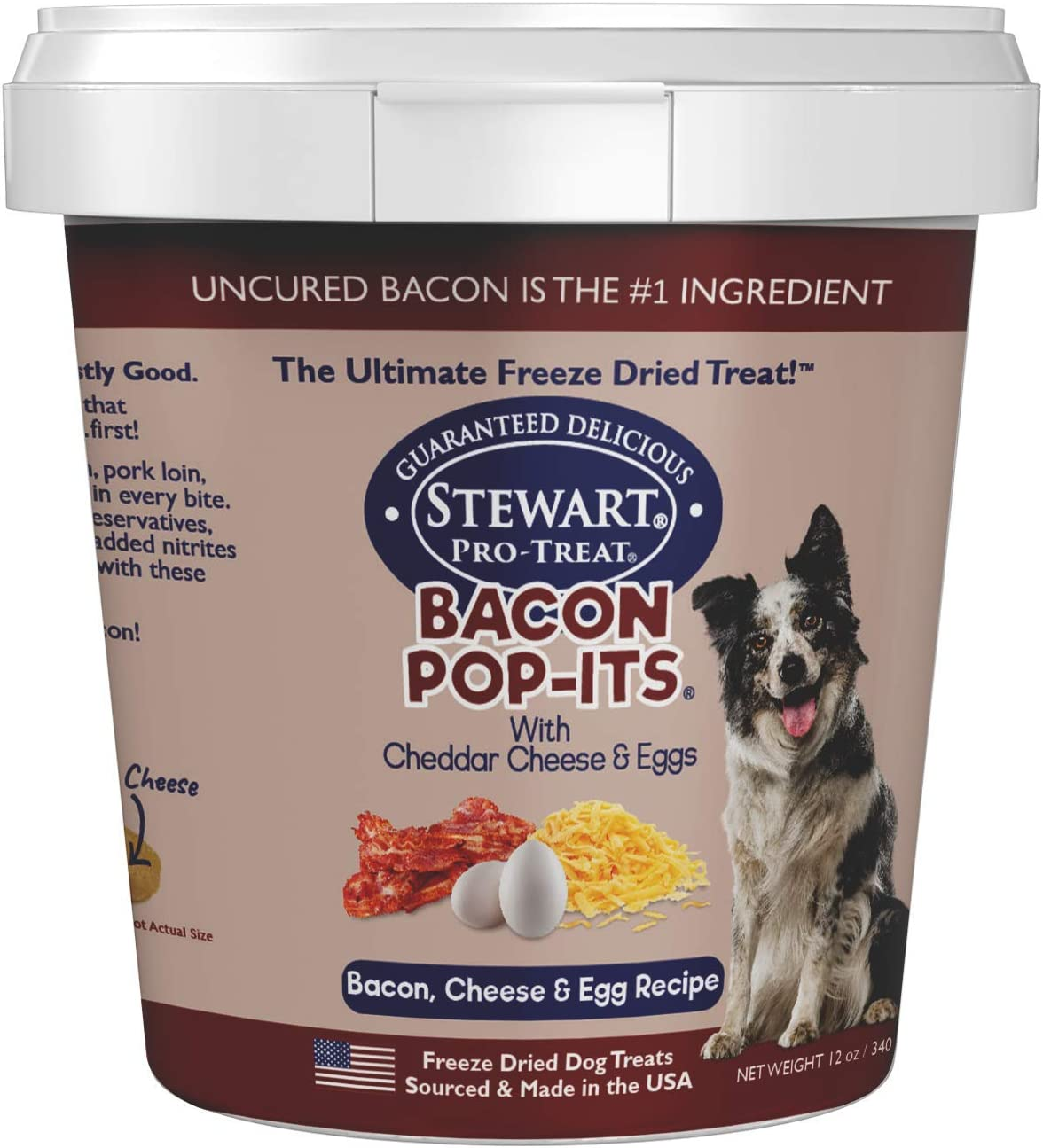 Stewart Bacon Pop-Its Dog Treats Made in the USA (Limited Ingredient Freeze Dried Dog Treats, Bacon Dog Treats, 3 Flavor Varieties) Resealable Bag or Tub to Preserve Freshness
