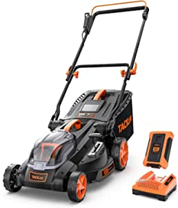 TACKLIFE Lawn Mower, 16-Inch 40V Brushless Lawn Mower, 4.0AH Battery, 6 Mowing Heights, 3 Operation Heights, 10.5Gal Grass Box