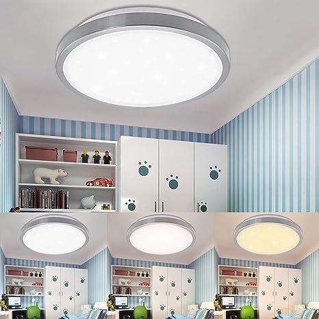 Vgo plafón LED salón lámpara de cocina Starlight efecto techo iluminación lustre dormitorio comedor de bajo consumo (12W Redonda Cambio De Color)