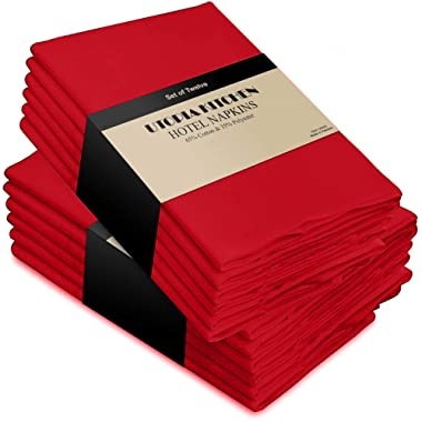 Utopia Kitchen Cotton Dinner Napkins 12 Pack (18 inches x 18 inches) - Soft and Comfortable - Durable Hotel Quality - Ideal for Events and Regular Home Use (Red)