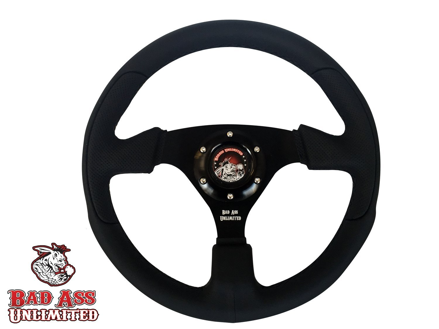 Polaris RZR XP 1000 Black Leather Steering wheel black stitch by Bad Ass Unlimited (Image #1)
