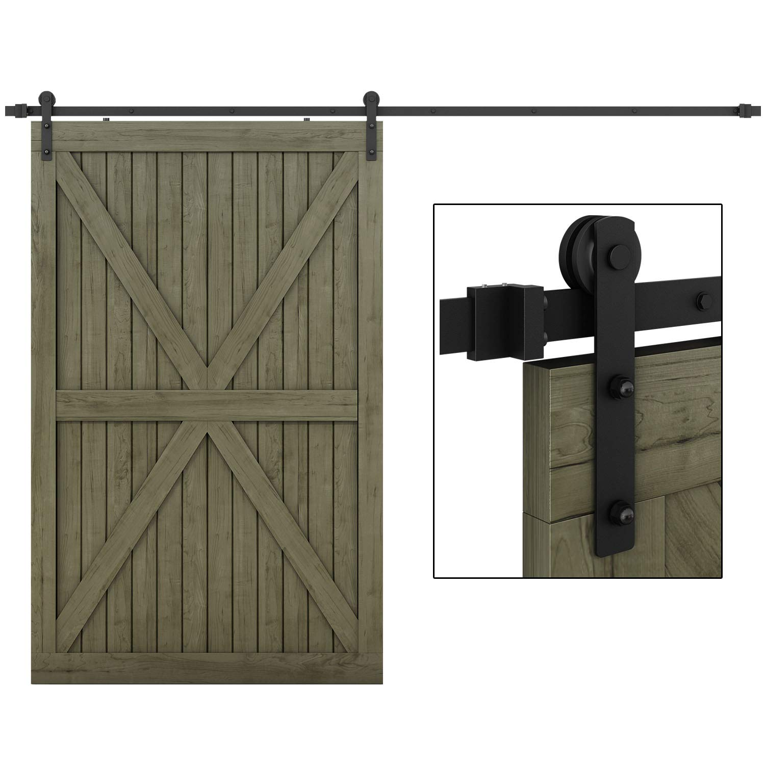 EaseLife 10 FT Heavy Duty Sliding Barn Door Hardware Track Kit - Ultra Hard Sturdy | Sliding Smooth Quiet | Easy Install | Fit up to 60'' Wide Door | 10 FT Track Single Door Kit