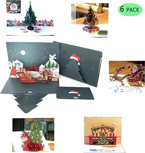 Amazon.com: Paquete de 6 tarjetas de Navidad 3D desplegables ...