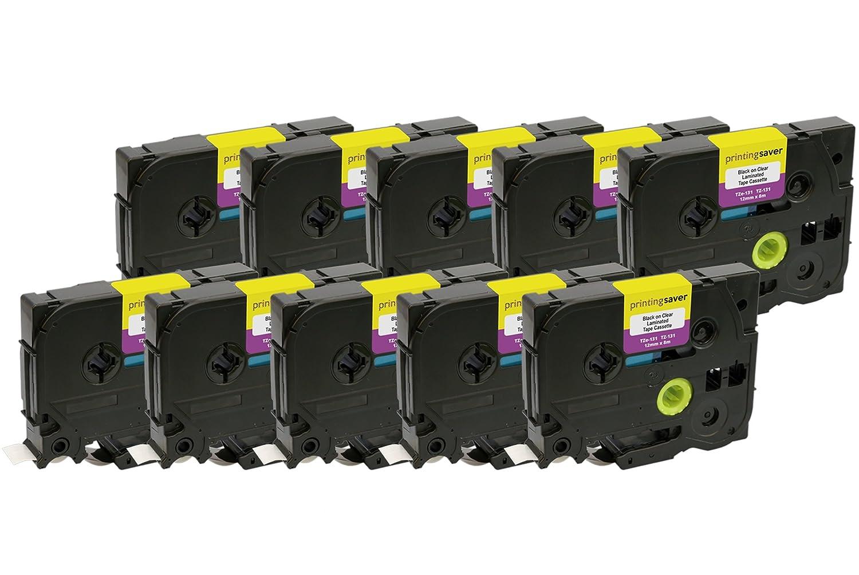 15 Compatibles mm TZe-131 TZ-131 12 mm Compatibles x 8 m Negro sobre Transparente Cintas para impresoras de etiquetas Brother P-Touch 9a0831