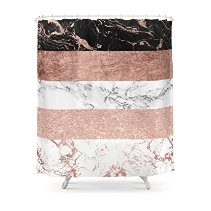 Society6 Modern Chic Color Block Rose Gold Marble Stripes Pattern Shower Curtain 71quot