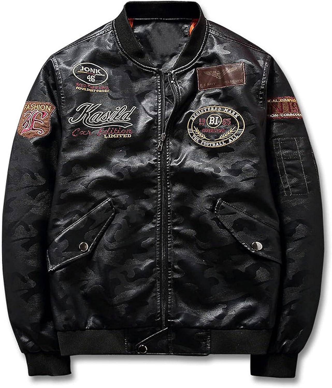Chaquetas De Cuero De Béisbol para Hombre PU Casual Motocicleta Jacket De Béisbol Vuelo Bomber Chaqueta Moda Juvenil Abrigo Outwear,Negro,XL