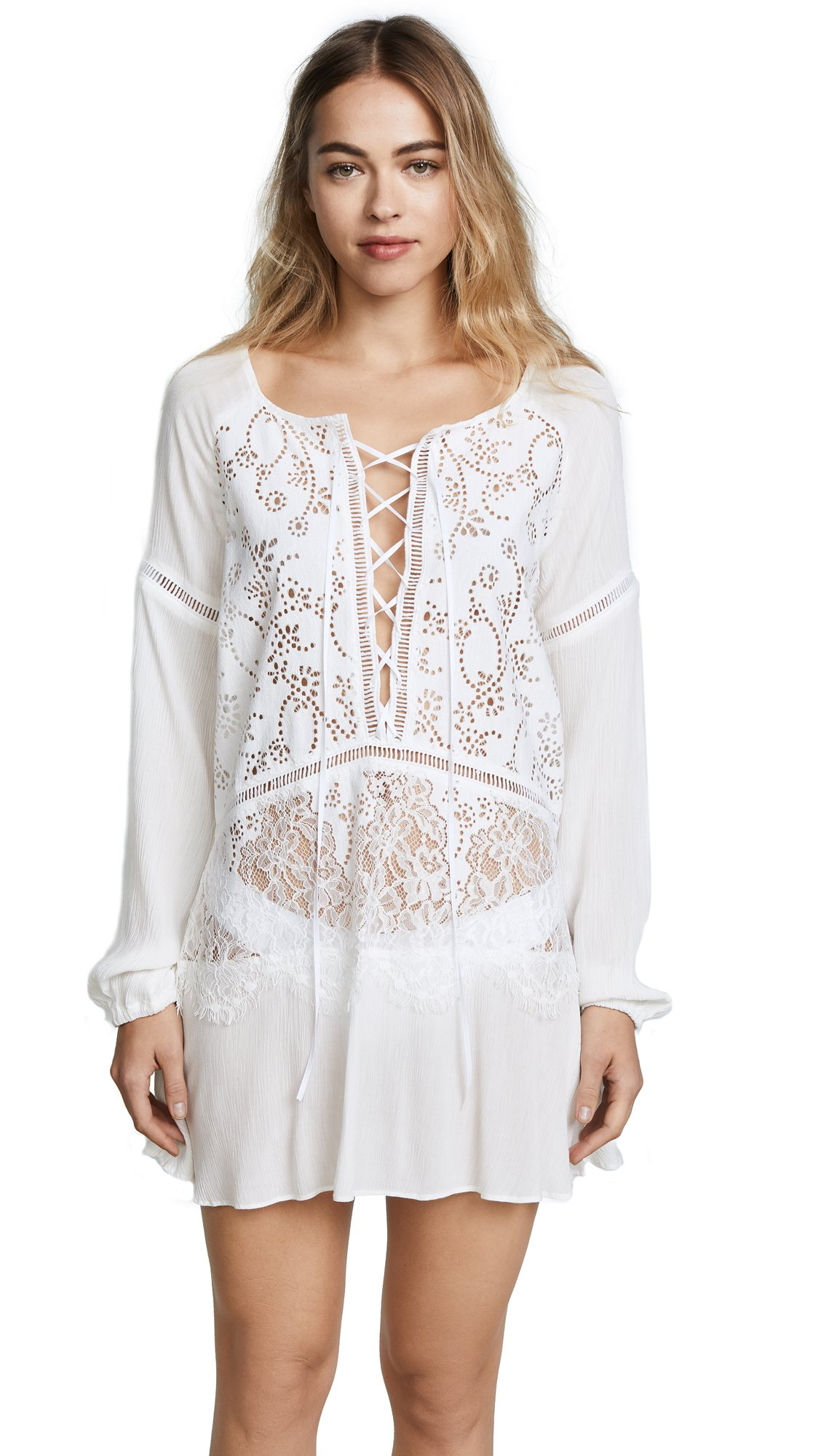 For Love & Lemons Women's Olympia Lace Cover Up Tunic, White, Small