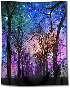 HVEST Psychedelic Forest Tapestry Wall Hanging Dreamlike Starry Sky Wall Tapestry Spring Night Scenery Tapestries for Bedroom Living Room Dorm Party Decor,60Wx80H inches