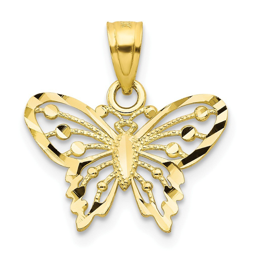 14K Yellow Gold Themed Jewelry Pendants /& Charms Solid 15 mm 18 mm Diamond Cut Butterfly Pendant