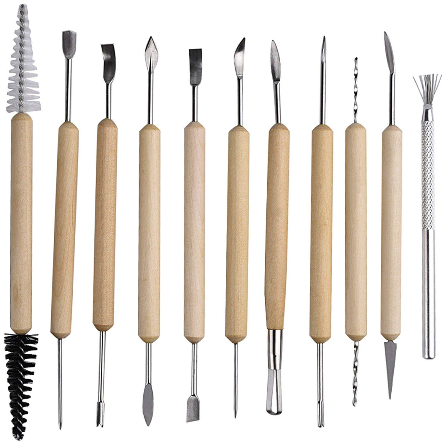 11Pcs Pottery Carving Tools Set Double Sided Ceramic Modeling Tools for Clay and Wood Sculpture Arts
