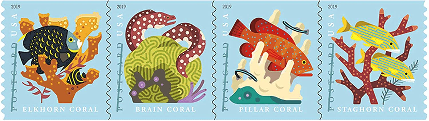 Coral Reefs Postcard Coil of 100 First Class Forever Postcard Postage Stamps Sea (100 Stamps)