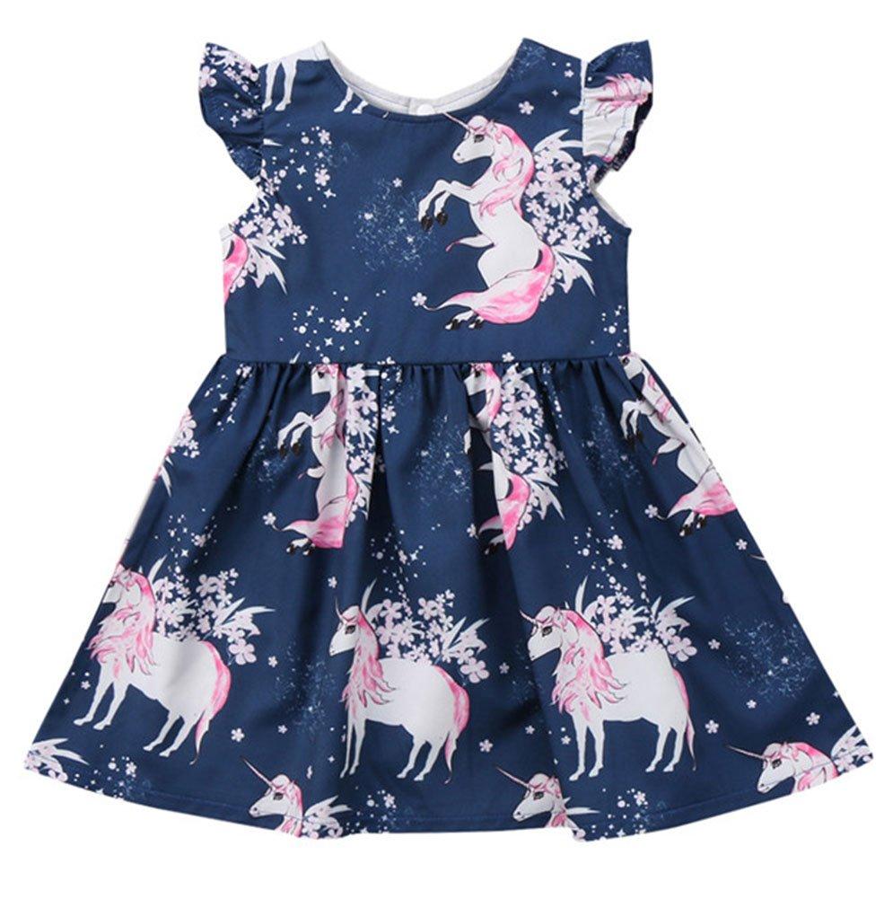 Jobakids Girls Summer Unicon Sleeveless Cotton Cute Print Casual Dress(Pink Unicorn 5T)