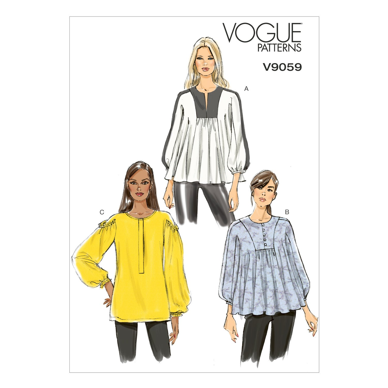 Vogue Patterns V9059 Misses' Top and Tunic Sewing Template, ZZ (LRG-XLG-XXL) by Vogue Patterns B00PH51KZW