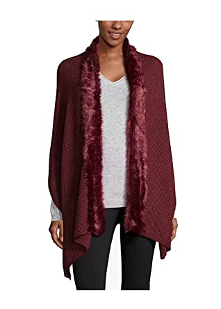 Inc International Concepts Faux Fur Trim Scarf Wine At Amazon