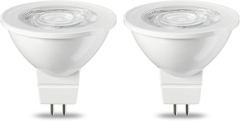 AmazonBasics Bombilla LED GU5.3 MR16, 4.5W (equivalente a 35W), Blanco Cálido- 2 unidades