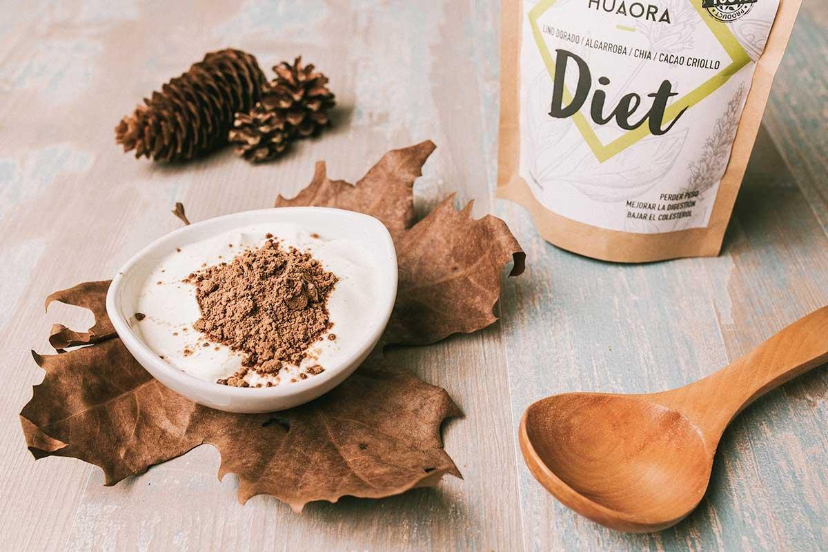 Huaora Diet - Lino, Algarroba, Cacao, Chia, Azucar de Coco - efecto saciante y eliminacion liquidos - Sin Gluten, Soya ni Lactosa (apto para Veganos) (250): ...