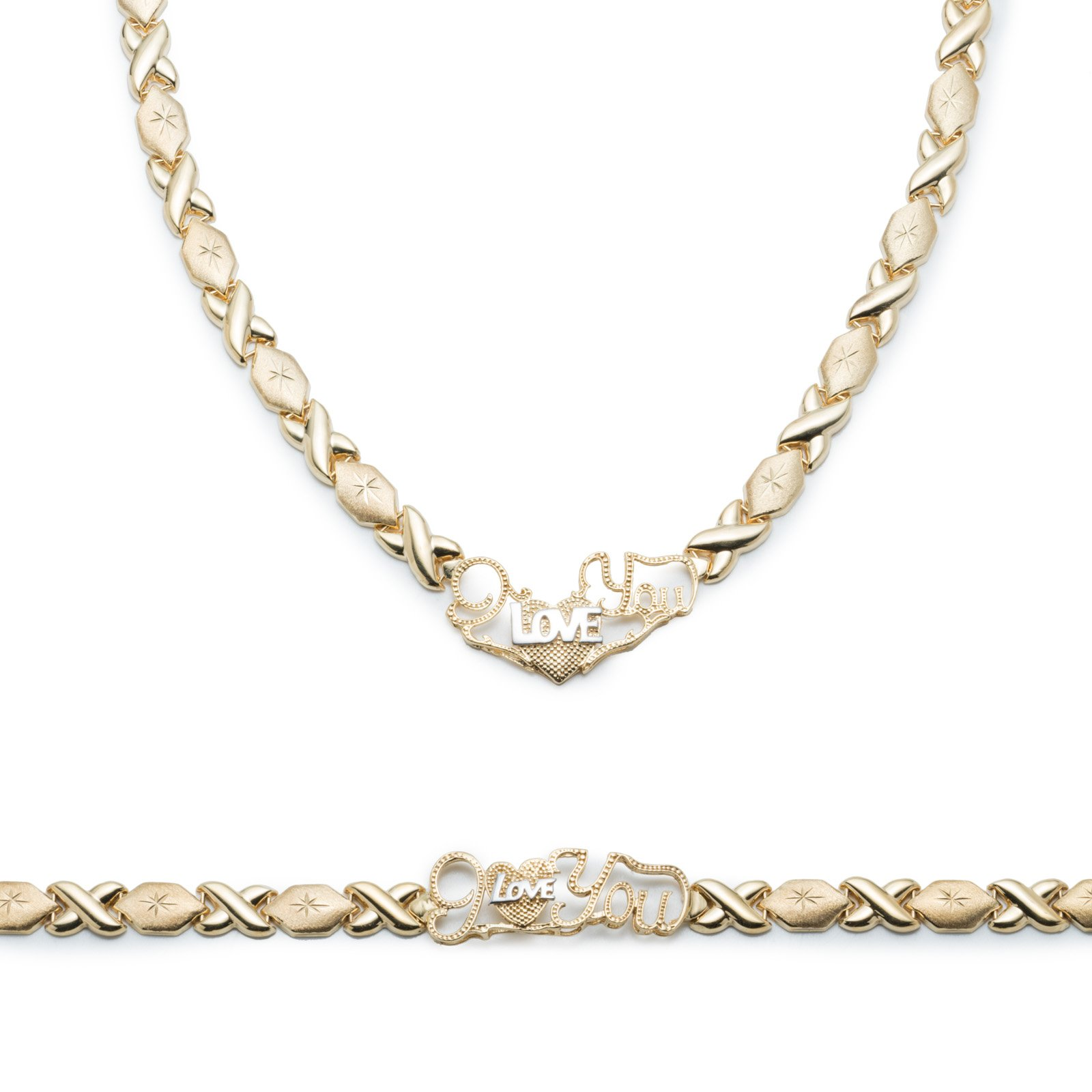 Sterling Silver 14k Gold Plated Stampato Xoxo Hugs and Kisses w/ Heart ''I Love You'' Bracelet & Necklace Set