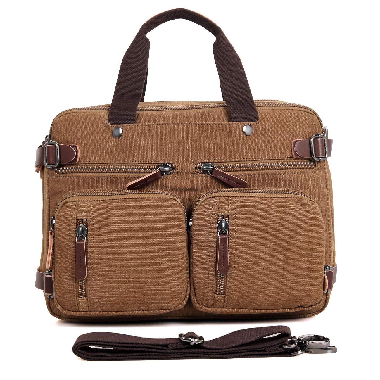 Clean Vintage Laptop Bag Hybrid Backpack Messenger Bag/Convertible Briefcase Backpack Satchel for Men Women- BookBag Rucksack Daypack-Waxed Canvas Leather, Brown