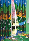 66 Width x 72 Drop Curtains Farmyard Friends + Matching Tie Backs, Farm Animals Cows Sheep Duck Ducklings Swan Chicks Chickens Tractor Love Birds, Green Blue Yellow Orange Red by Other