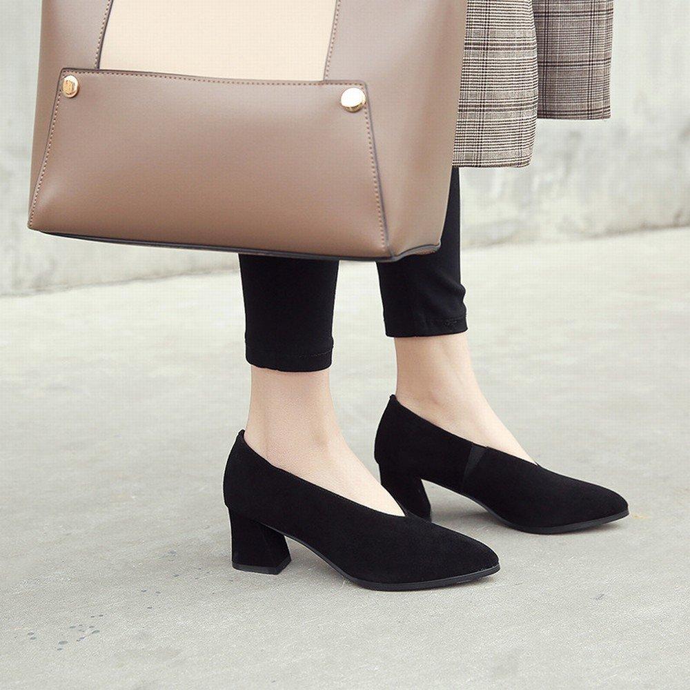 DIDIDD Faule Schuhleder-Schuhfrauen des Frühlingsfrühling-Hohen Absatzes Scheuern Raues mit OL-Schuhen Schwarz 7cm mit 39