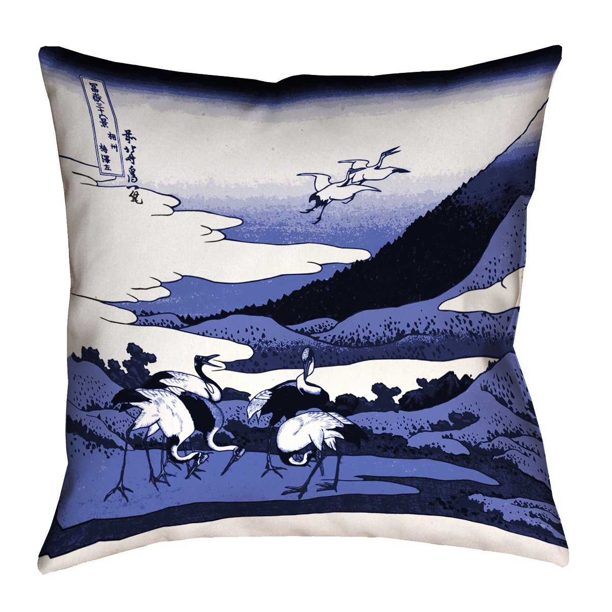 ArtVerse Katsushika Hokusai 36' x 36' Floor Double Sided Print with Concealed Zipper & Insert Japanese Cranes in Blue Pillow HOK034F3636L