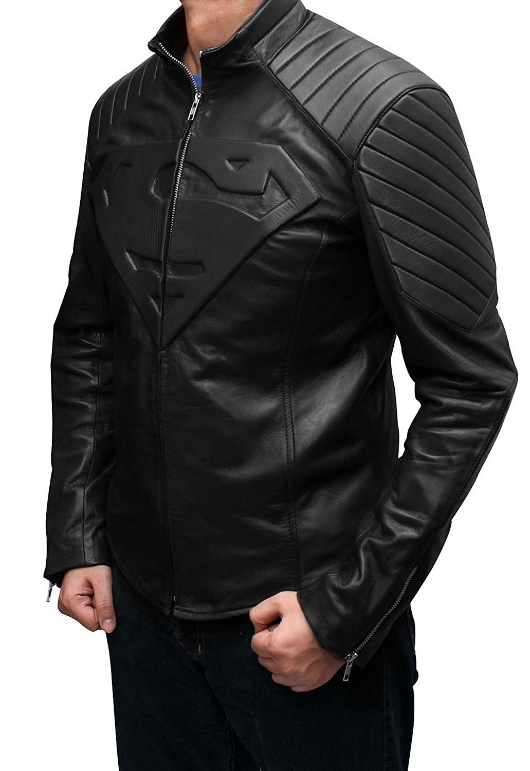 Mens Superman Celebrity Costume Black Leather Jacket (L, SUPERMAN BLACK) by fjackets
