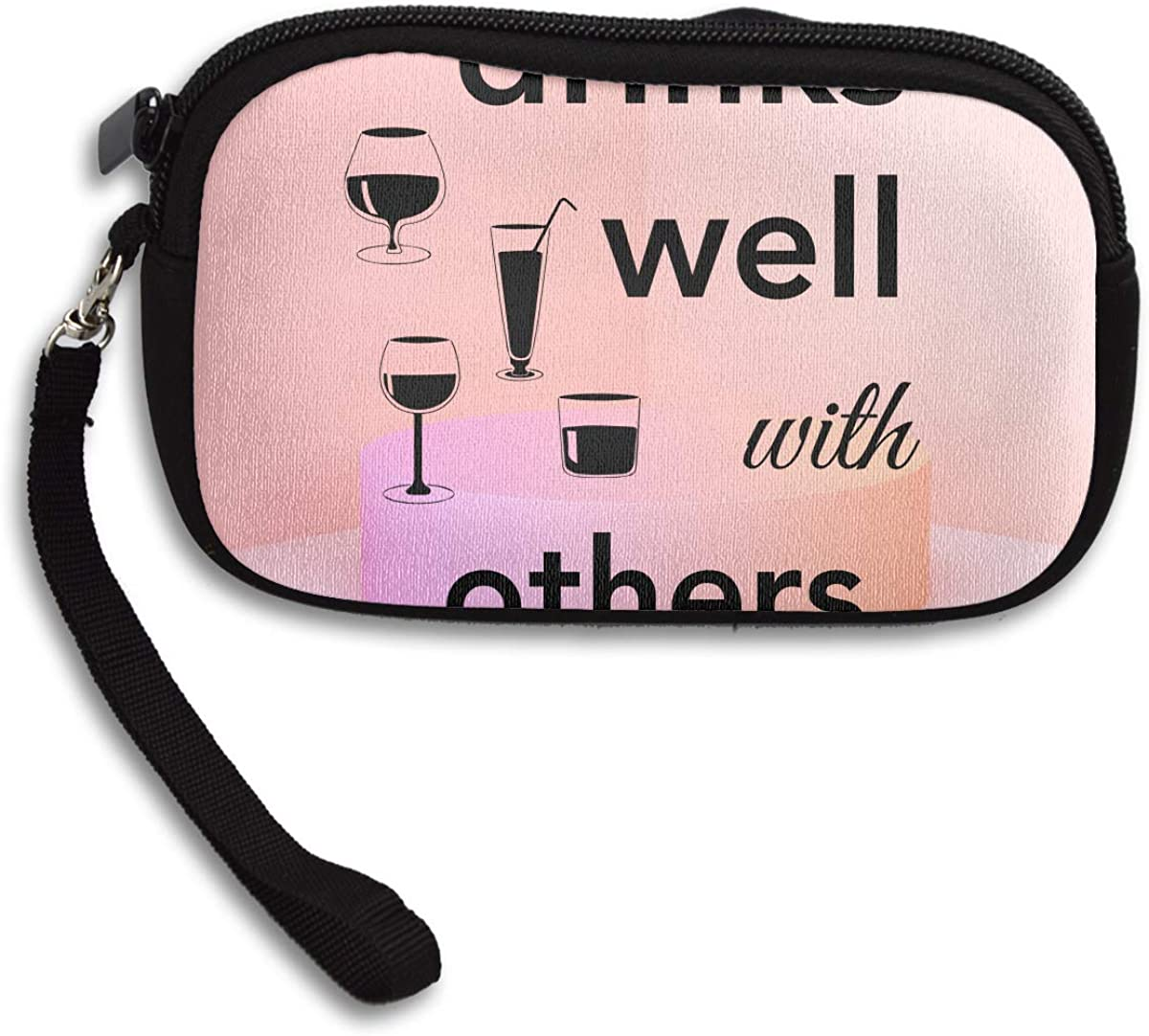 Drinks Well With Others Deluxe Printing Small Purse Portable Receiving Bag