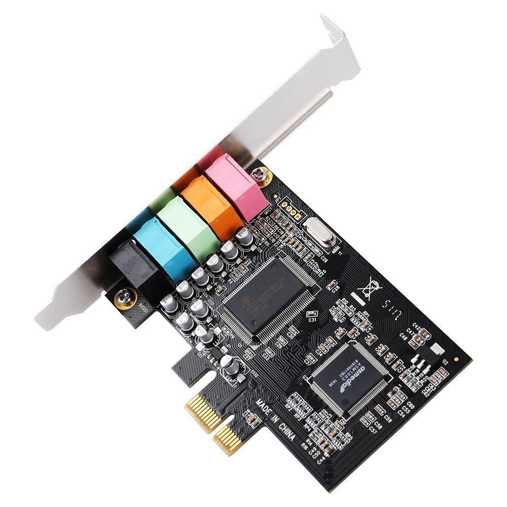 SODIAL Tarjeta de Sonido PCIe 5.1, Tarjeta de Audio 3D Envolvente PCI Express con Alto Rendimiento de Sonido Directo y Soporte de Perfil bajo