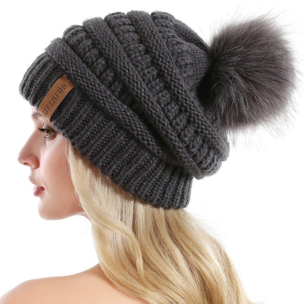 QUEENFUR Women Knit Slouchy Beanie Chunky Baggy Hat with Faux Fur Pompom Winter Soft Warm Ski Cap