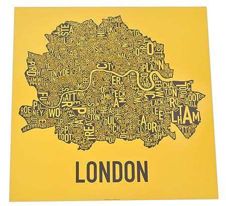 London Neighbourhoods Map Screen Print: Amazon.co.uk: Kitchen & Home