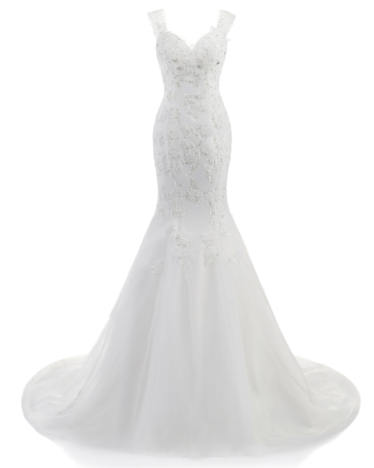 ABaowedding 2015 Women's Sleeveless Mermaid Wedding Dress Long Ivory (size16) by ABaowedding