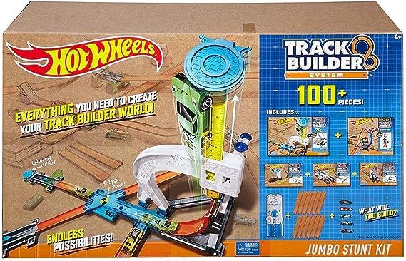 Hot Wheels, Caja Jumbo para construcción de Pistas de Acrobacias + ...