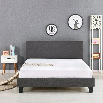 iKayaa - Estructura de cama de hierro y madera,superficie del lino ...