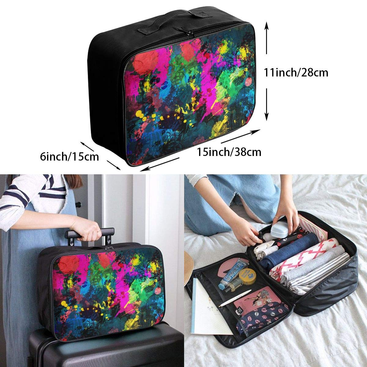 Travel Fashion Lightweight Large Capacity Duffel Portable Waterproof Foldable Storage Carry Luggage Tote Bag Tied And Dyed Tie Dye Graffiti