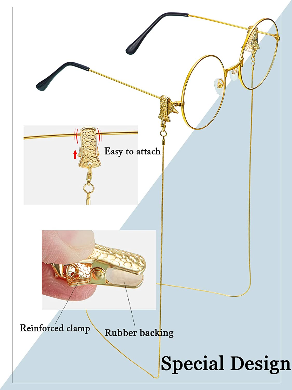 6 Pieces Eyeglass Chains Metal Eyeglass Chains with Clips Beaded Eyeglasses Chain with Alligator Clamps Face Covering Holder Chains with Non-Slip Clips