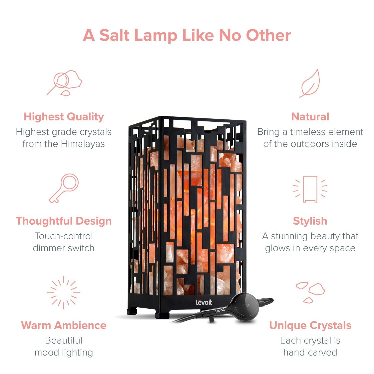 Levoit Enza Himalayan Hand Carved Natural Himilian Hymalain Pink Salt Rock Lamps with Metal Housing, Touch Dimmer Switch, 3 Bulbs, UL-Listed Cord and Luxury Gift Box, Medium by LEVOIT (Image #7)
