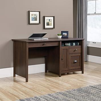 sauder county line computer desk in rum walnut